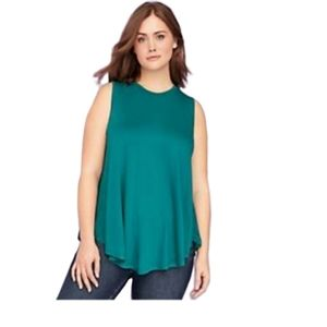 Lane Bryant| Tunic Blouse Green High-Neck Loose